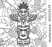 Doodle Traditional Tribal Totem Pole on plants background, coloring book. Coloring for adults, a tribal totem on jungle background. Jungle Coloring Book. Black and white illustrations - stock photo