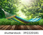relaxing on hammock in garden | Shutterstock . vector #392220181