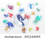 clothing in soap bubbles on... | Shutterstock . vector #392234095