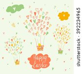 balloons and a basket with... | Shutterstock . vector #392234965