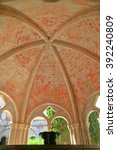 Small photo of Gothic arches above the ablution fountain of the Royal Abbey of Santa Maria de Poblet (Poblet Monastery) in Catalonia, Spain