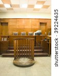 Old vintage wooden court room. - stock photo