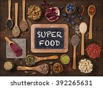 super foods in spoons and bowls ... | Shutterstock . vector #392265631