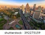 bangkok business district with... | Shutterstock . vector #392275159