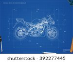blueprint motorcycle. vector... | Shutterstock .eps vector #392277445