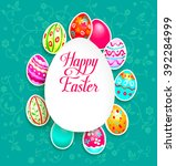 spring holiday card with eggs... | Shutterstock .eps vector #392284999