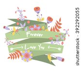 vector cute card with ribbon... | Shutterstock .eps vector #392292055