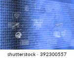 laptop surrounded by cyber... | Shutterstock . vector #392300557