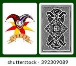 Joker Playing Card On Green An...