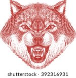 angry wolf head | Shutterstock .eps vector #392316931