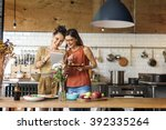 friends chef cook cooking... | Shutterstock . vector #392335264