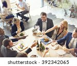 business people party cheers... | Shutterstock . vector #392342065
