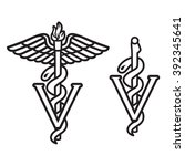 veterinarian caduceus symbol | Shutterstock .eps vector #392345641