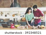 couple cooking hobby liefstyle... | Shutterstock . vector #392348521