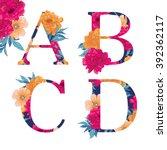 vintage flower alphabet. hand... | Shutterstock .eps vector #392362117