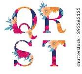 vintage flower alphabet. hand... | Shutterstock .eps vector #392362135