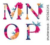 vintage flower alphabet. hand... | Shutterstock .eps vector #392362141