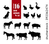 Stock vector farm animals silhouettes set for domestic fauna design ow horse cat sheep chicken duck 392362474