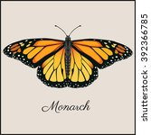 Monarch Butterfly Card. Flat...