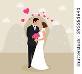 man woman couple married in... | Shutterstock .eps vector #392381641