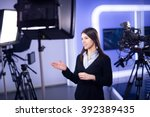television presenter recording... | Shutterstock . vector #392389435