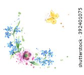 floral wreath. round frame with ... | Shutterstock . vector #392401075