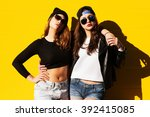 two young girlfriends in... | Shutterstock . vector #392415085