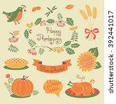 happy thanksgiving set of... | Shutterstock . vector #392441017