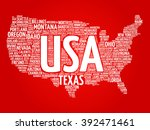 usa map word cloud made with... | Shutterstock . vector #392471461