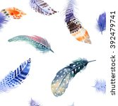 feathers pattern. watercolor... | Shutterstock . vector #392479741