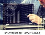 closeup of businessman typing... | Shutterstock . vector #392492665