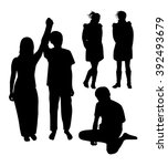 a set of silhouettes of young... | Shutterstock .eps vector #392493679