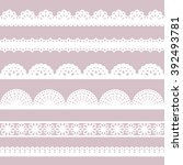 set of white lace borders  ...   Shutterstock .eps vector #392493781