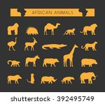 vector set of silhouettes of... | Shutterstock .eps vector #392495749
