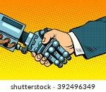 handshake of robot and man. new ... | Shutterstock .eps vector #392496349