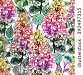 seamless floral pattern  with... | Shutterstock .eps vector #392497315
