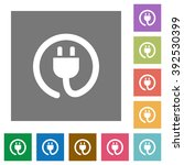 power cord flat icon set on...