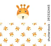 giraffe head icon and seamless... | Shutterstock .eps vector #392532445