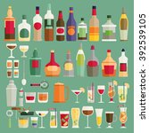 drinks and beverages icon set.... | Shutterstock .eps vector #392539105
