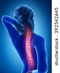 spine injury pain in sacral and ... | Shutterstock . vector #392542645