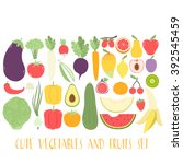 huge set with cute fruits and... | Shutterstock .eps vector #392545459
