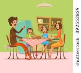family having meal in the... | Shutterstock .eps vector #392552839
