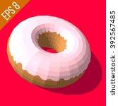 donut with pink glazed. donut...   Shutterstock .eps vector #392567485