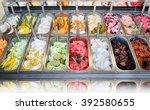 display of assorted ice creams... | Shutterstock . vector #392580655
