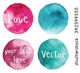 set of watercolor stain. spots... | Shutterstock .eps vector #392599555