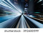 underground tunnel with blurred ... | Shutterstock . vector #392600599