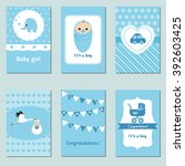 set of beautiful baby boy card... | Shutterstock .eps vector #392603425
