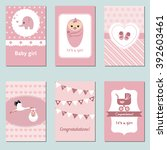 set of beautiful baby girl card ... | Shutterstock .eps vector #392603461