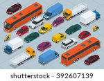 Car icons. Flat 3d isometric high quality city transport. Sedan, van, cargo truck,  off-road, bus, scooter, motorbike, riders. Set of urban public and freight transport | Shutterstock vector #392607139