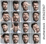 set of young man's portraits... | Shutterstock . vector #392623567
